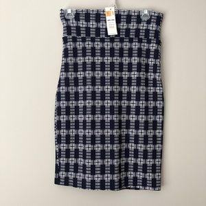 Agnes & Dora Navy Patterned Pencil Skirt Size S
